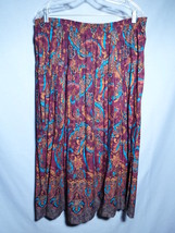 VENEZIA skirt 22 24 wine turquoise gold elastic... - $29.39