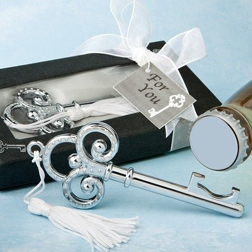 Key To My Heart Bottle Opener Wedding Favor Reception Gift Party Classic Chrome