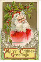 Christmas Greetings From Santa vintage  Post Card - $7.00