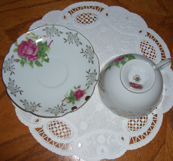 Lefton China vintage cup and saucer    Roses
