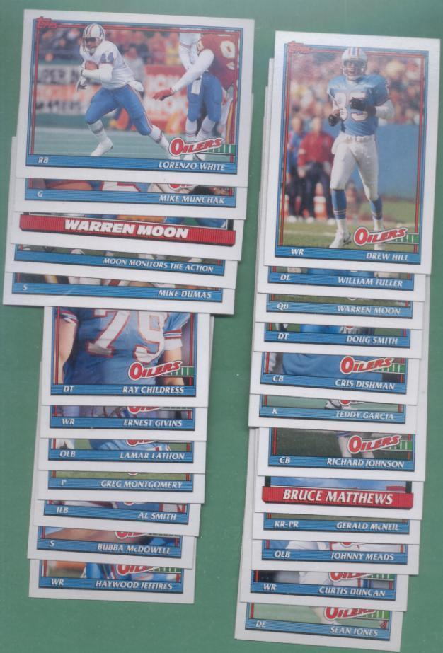 1991 Topps Houston Oilers Football Team Set