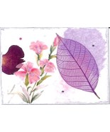 ACEO ATC Art Collage Print Purple Leaf Pink Flowers Serenity Inspirational - $2.75