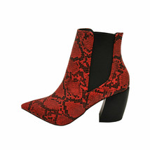 Qupid MILKWAY-07A Red Black Snake Women's Pointy Toe Ankle Booties - $58.95