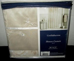 $60 Croft & Barrow Belle Fabric Shower Curtain Beige Taupe Cream Floral NEW - $29.65
