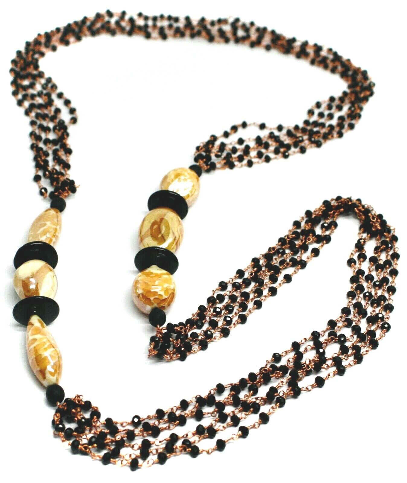 """ROSE NECKLACE BLACK, ORANGE SPOTTED DROP OVAL MURANO GLASS, MULTI WIRES 35"""" LONG"""