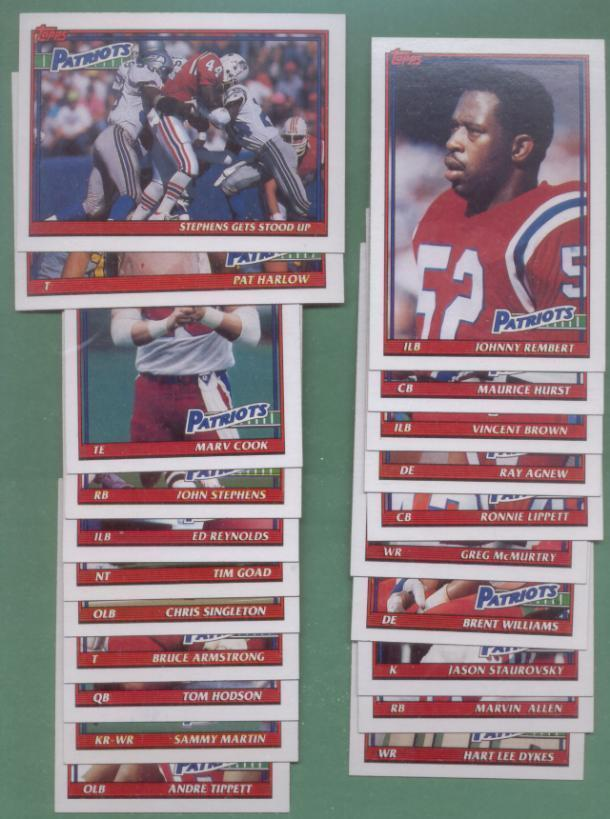 1991 Topps New England Patriots Football Team Set