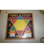 FREE SHIPPING -Antique vintage wood framed chinese checkers board game c... - $24.99