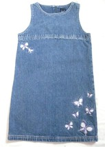 Girl Size M 7/8 Gap Denim Jean Jumper Dress Purple Butterfly Embroidery ... - $11.75