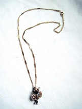 """18""""  Monet Gold Tone Sculpted Rose Pendant Necklace Flat Chain Lobster  Clasp - $8.81"""