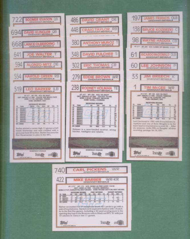1992 Topps Cincinnati Bengals Football Team Set
