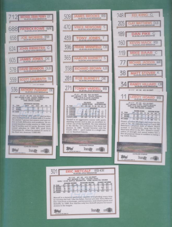 1992 Topps Cleveland Browns Football Set