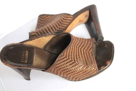 Stuart Weitzman Brown Leather Open Toe Heels Shoes Size 7 M - $19.80