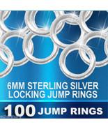 100 Locking JUMP RINGS Sterling Silver 6mm Heavy 18 Gauge Jumprings - $75.00