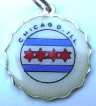 CHICAGO Illinois Vintage Silver Enamel Scallop Edge Travel Shield Bracel... - $49.95