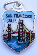 Golden Gate Bridge SAN FRANCISCO  California Vintage Enamel Travel Shiel... - $24.95