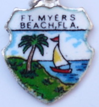 Ft. Meyers FLORIDA Vintage Enamel Travel Shield Charm - $29.95