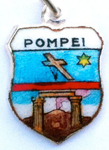 POMPEI ITALY CROSS Silver Travel Shield BRACELET Charm - $29.95