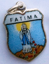 LADY FATIMA PORTUGAL Silver Enamel Travel Shield Charm - $29.95