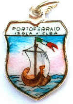 Portoferraio Elba ITALY Silver Travel Shield Charm - $29.95