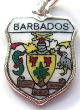 BARBADOS Coat o Arms Vintage Enamel Travel Shield Charm - $29.95
