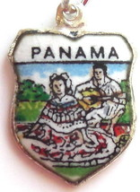 PANAMA 1 Silver Enamel Travel Shield Bracelet C... - $29.95