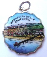 Manhattan Beach Pier CALIFORNIA Silver Enamel T... - $49.95