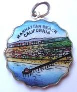 Manhattan Beach Pier CALIFORNIA Silver Enamel Travel Shield Bracelet Cha... - $49.95