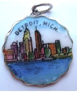 MICHIGAN - DETROIT Scalloped Edge Silver Enamel... - $49.95