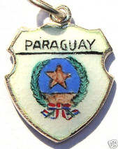 PARAGUAY Coat o Arms Vintage Enamel Travel Shield Charm - $24.95