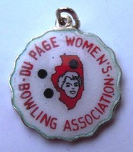 Du Page Bowling Illinois Vintage Silver Enamel ... - $49.95
