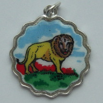 Animal - Zoo LION Vintage Silver Enamel Shield Bracelet Charm RARE - $29.95