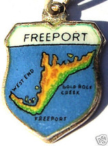 FREEPORT BAHAMAS MAP Vintage SILVER Travel Shield Charm - $24.95