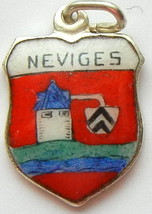 NEVIGES GERMANY Vtg. Silver Enamel Travel Shiel... - $29.95