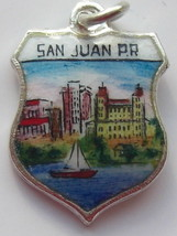 PUERTO RICO Coast 3 Silver Enamel Travel Shield Charm - $29.95