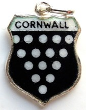 CORNWALL ENGLAND Sterling Silver Vintage Enamel Travel Shield Bracelet C... - $29.95