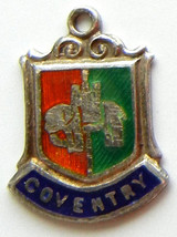 COVENTRY ENGLAND UK Silver Enamel Travel Shield Charm - $24.95