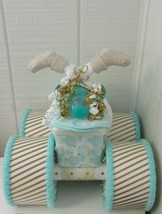 Mint , Gold and White Theme Baby Shower Four Wheeler Diaper Cake - $57.00