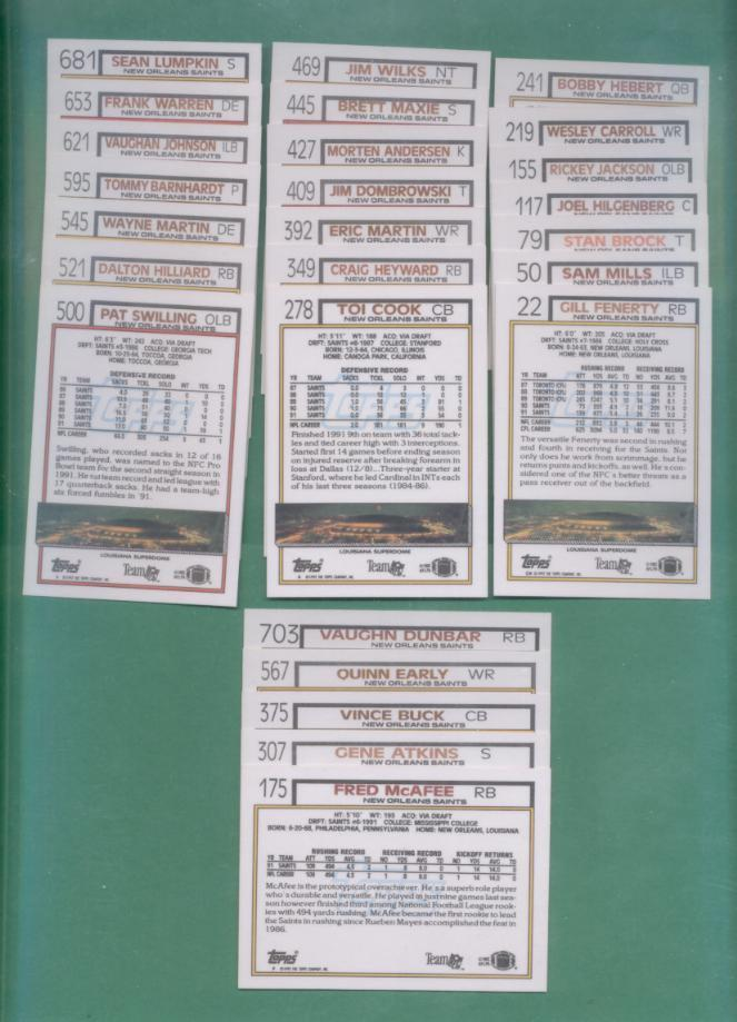 1992 Topps New Orlrans Saints Football Team Set