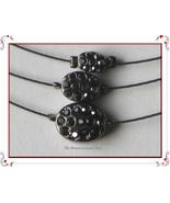 NEW Antique Silver 3 Strand Necklace 3 Stone Pendant - $4.00