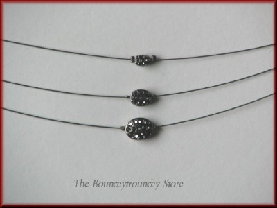 NEW Antique Silver 3 Strand Necklace 3 Stone Pendant