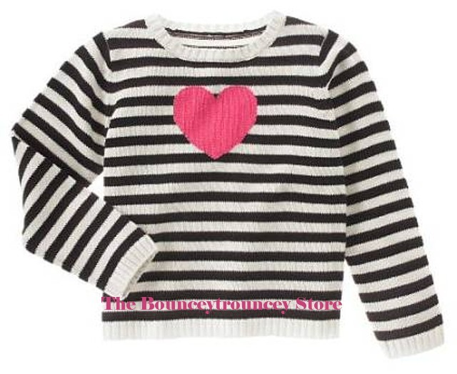 NWT Gymboree TRES CHIC Cotton Heart Sweater Top Black 4