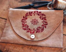 Redwork Snowflake Sewing Bag cross stitch Stacy Nash Primitives - $10.80