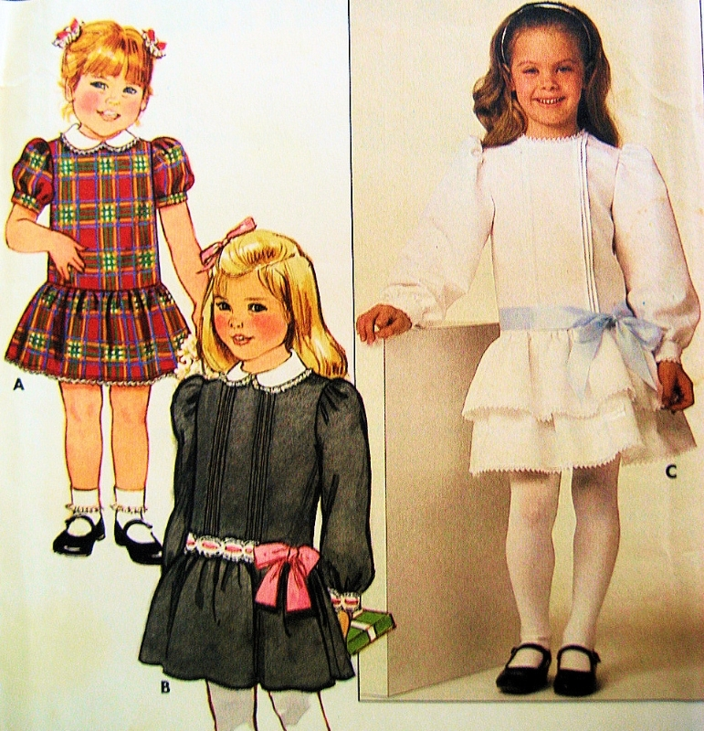 Butterick 6713  Girls Party Dress Pattern Size 6 Low Waist Vintage 80s Wedding
