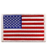 American Flag Embroidered Patch White Border United States Iron-On Military - $3.99