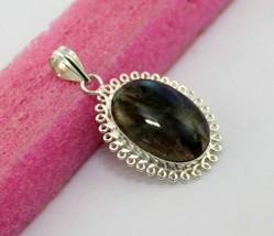 12 gr Blue Fire Labradorite Silver Overlay Handmade Pendant Jewelry -P-129-24_13 - $5.39