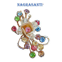 Nagrasanti Vintage GV Floral Spray/New Crystal Brooch - $25.00