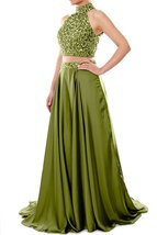 Women's Two Pieces Long Prom Dress Beaded Chiffon Formal Dresses Evening Gown - $152.78