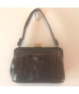Vintage 1960s Genuine Alligator Leather Gaber Bags Brown Small Purse Han... - $24.95