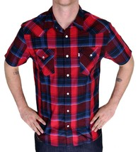 BRAND NEW LEVI'S MEN'S CLASSIC COTTON CASUAL BUTTON UP PLAID SHIRT 3LYSW6062-RED