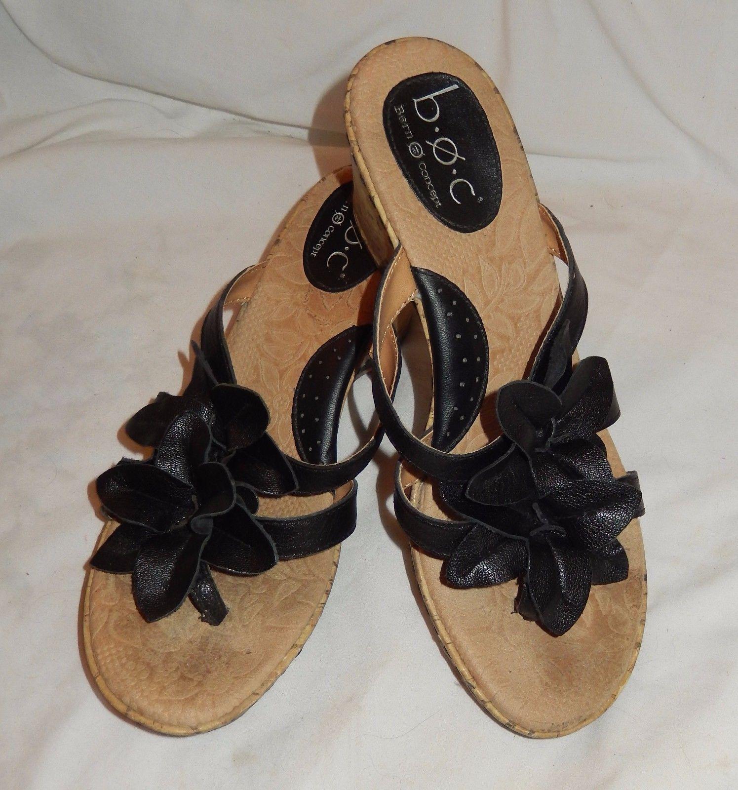 BORN Womens Sz 8 M Navy Blue Leather Flower Sandals Flip Flops Thongs NICE!!
